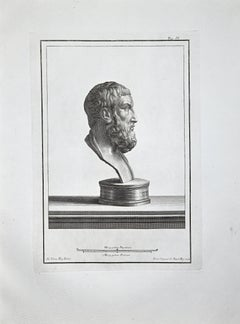 Profile of Ancient Roman Bust - Etching by F. Cepparoli - Late 18th Century