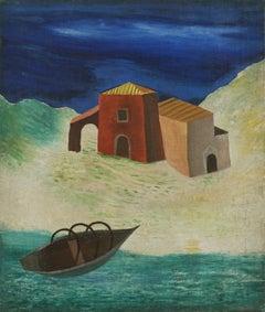 1940s Mediterranean Fishing Village Landscape