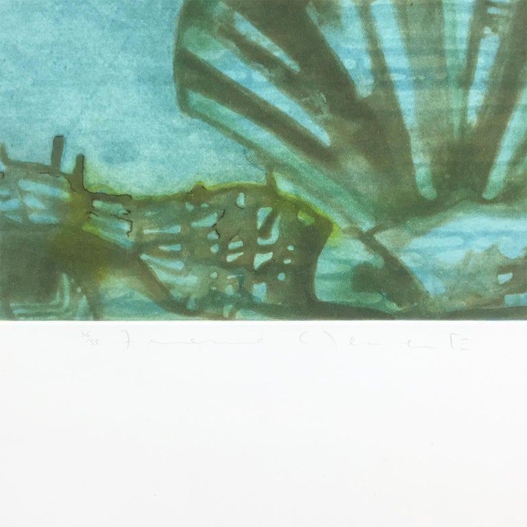 Conception: birth of Venus, lovers, pink blue fighter planes, ocean landscape - Contemporary Print by Francesco Clemente