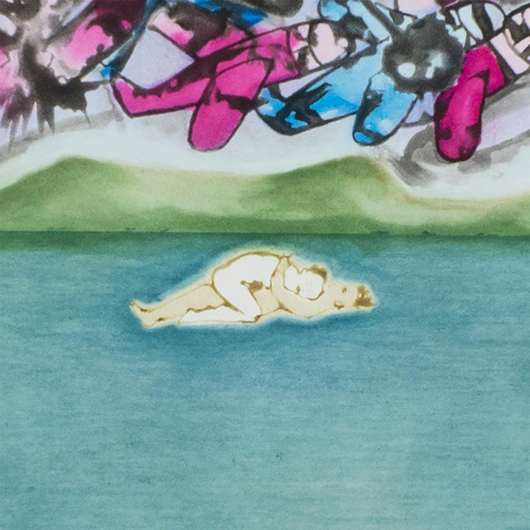 Conception: birth of Venus, lovers, pink blue fighter planes, ocean landscape - Blue Nude Print by Francesco Clemente