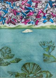 Conception: birth of Venus, lovers, pink blue fighter planes, ocean landscape