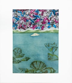 Conception: birth of Venus with lovers, blue pink planes, and ocean landscape