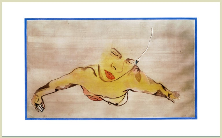 Semen: large scale expressionist nude male figure portrait, floating in pink  - Print by Francesco Clemente