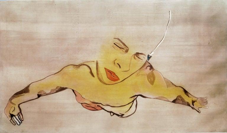 Francesco Clemente Portrait Print - Semen: large scale expressionist nude male figure portrait, floating in pink