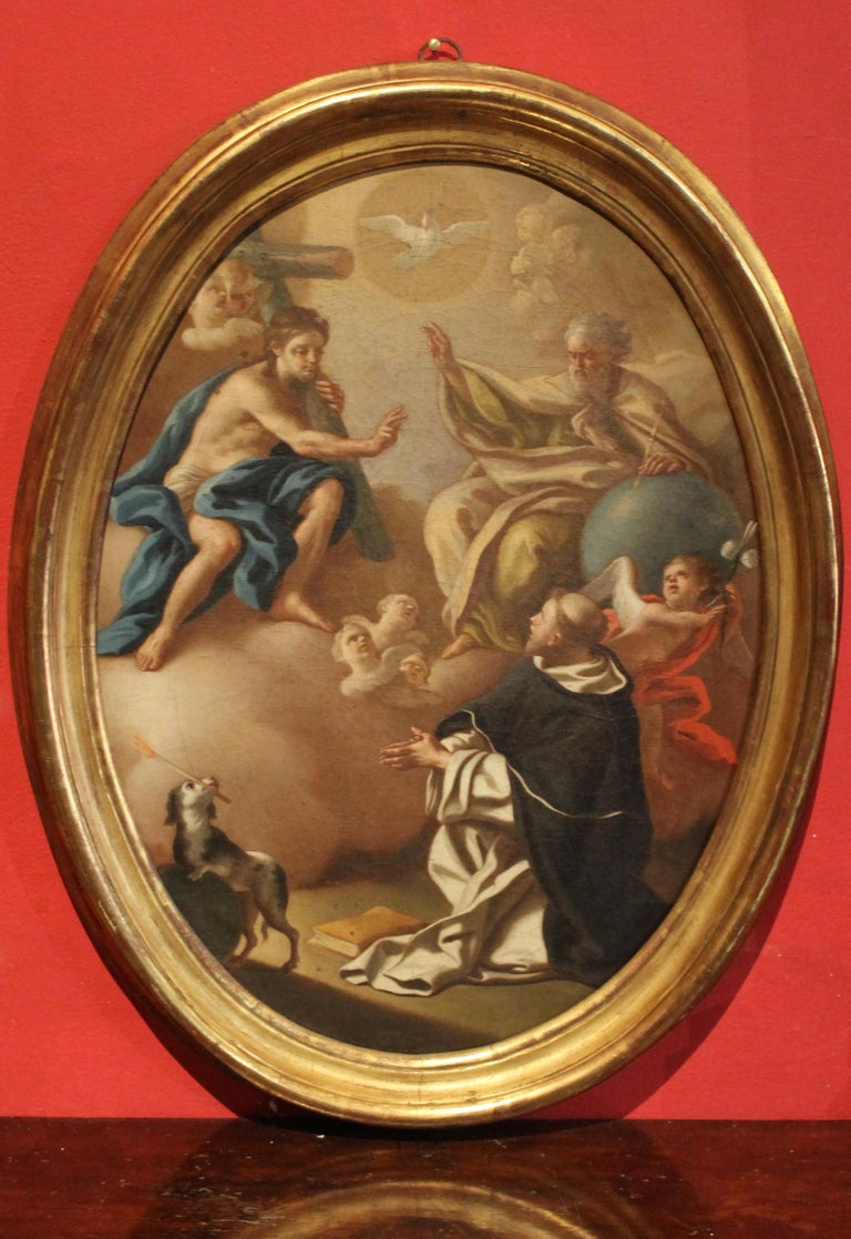 Italian 18th Century Oval Religious Oil on Canvas Painting with Saint Dominic  - Brown Figurative Painting by Francesco de Mura