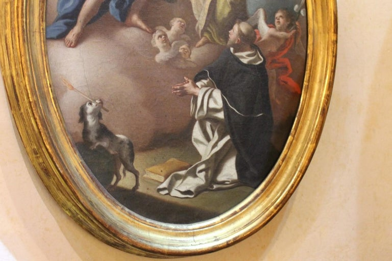Italian 18th Century Oval Religious Oil on Canvas Painting with Saint Dominic  For Sale 5