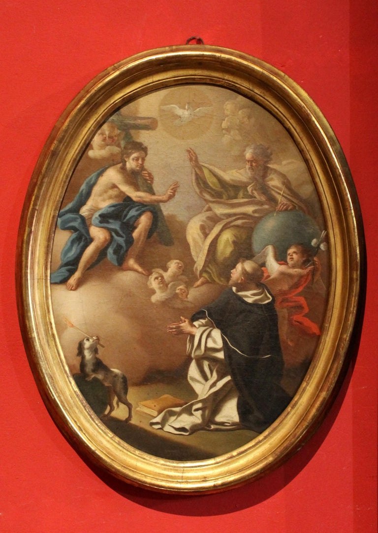 Francesco de Mura Portrait Painting - Italian 18th Century Oval Religious Oil on Canvas Painting with Saint Dominic