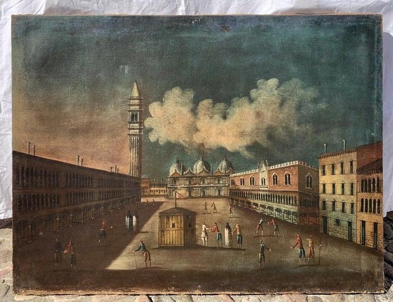 18th century Venetian painting - Venice - Oil Canvas Francesco Guardi follower - Old Masters Painting by Francesco Guardi