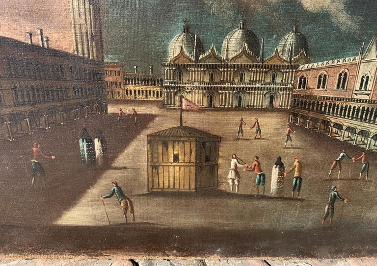 18th century Venetian painting - Venice - Oil Canvas Francesco Guardi follower - Black Landscape Painting by Francesco Guardi