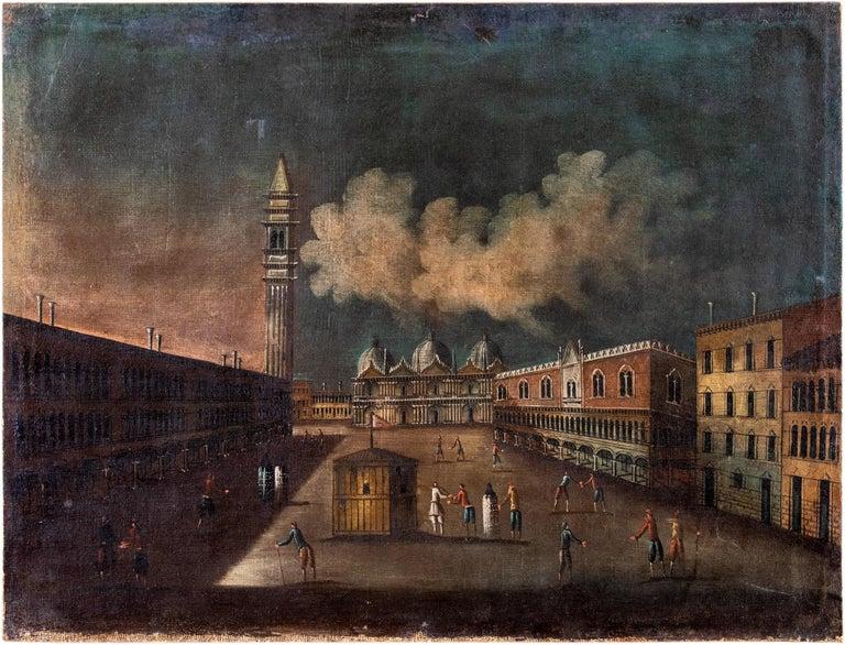 18th century Venetian painting - Venice - Oil Canvas Francesco Guardi follower - Painting by Francesco Guardi