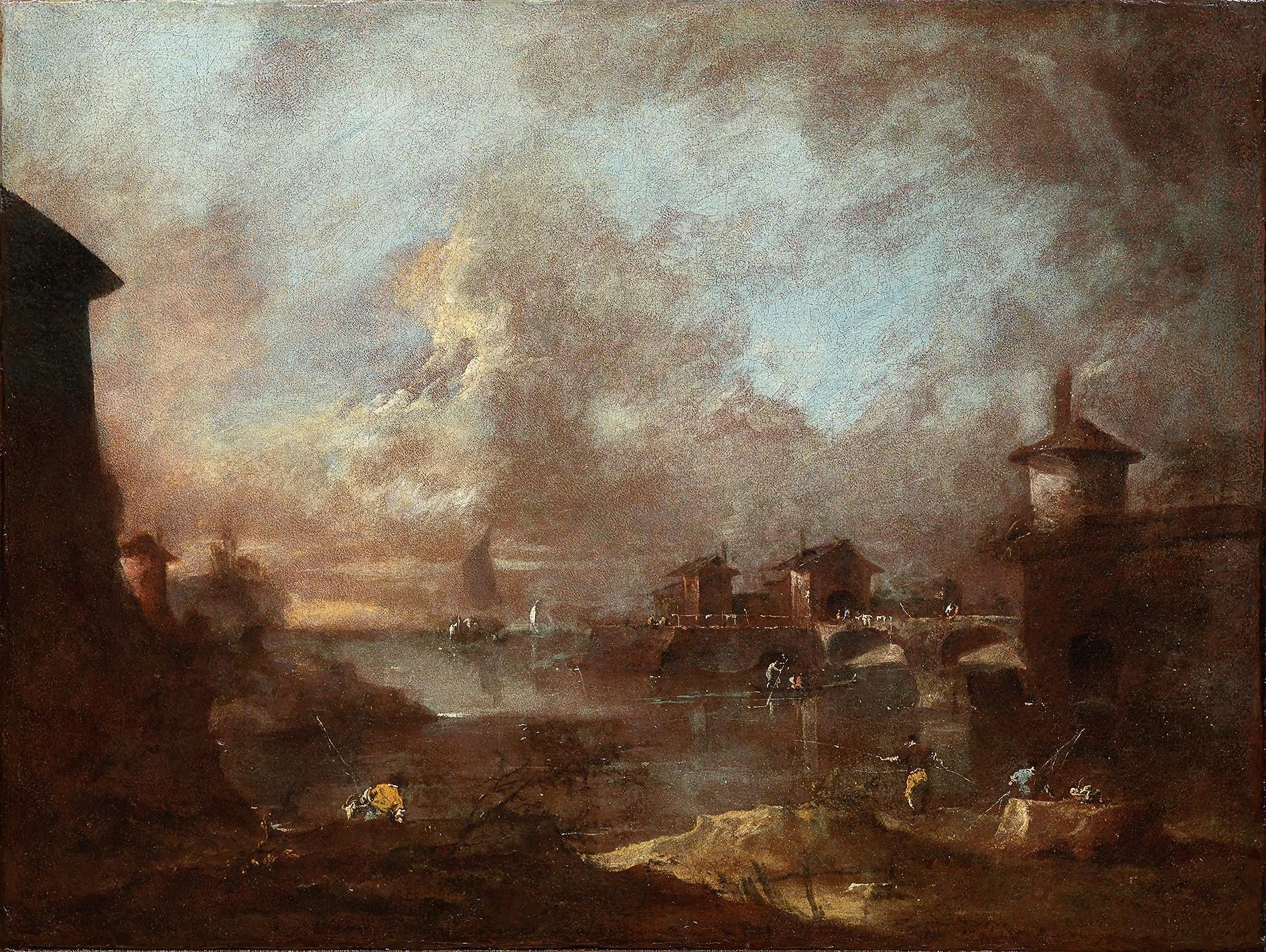 Lagoon Capriccio an original painting on linen by Francesco Guardi, (1712-1793)