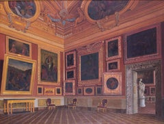 A 19th Century Italian oil painting of the interior of Pitti Palace, Florence