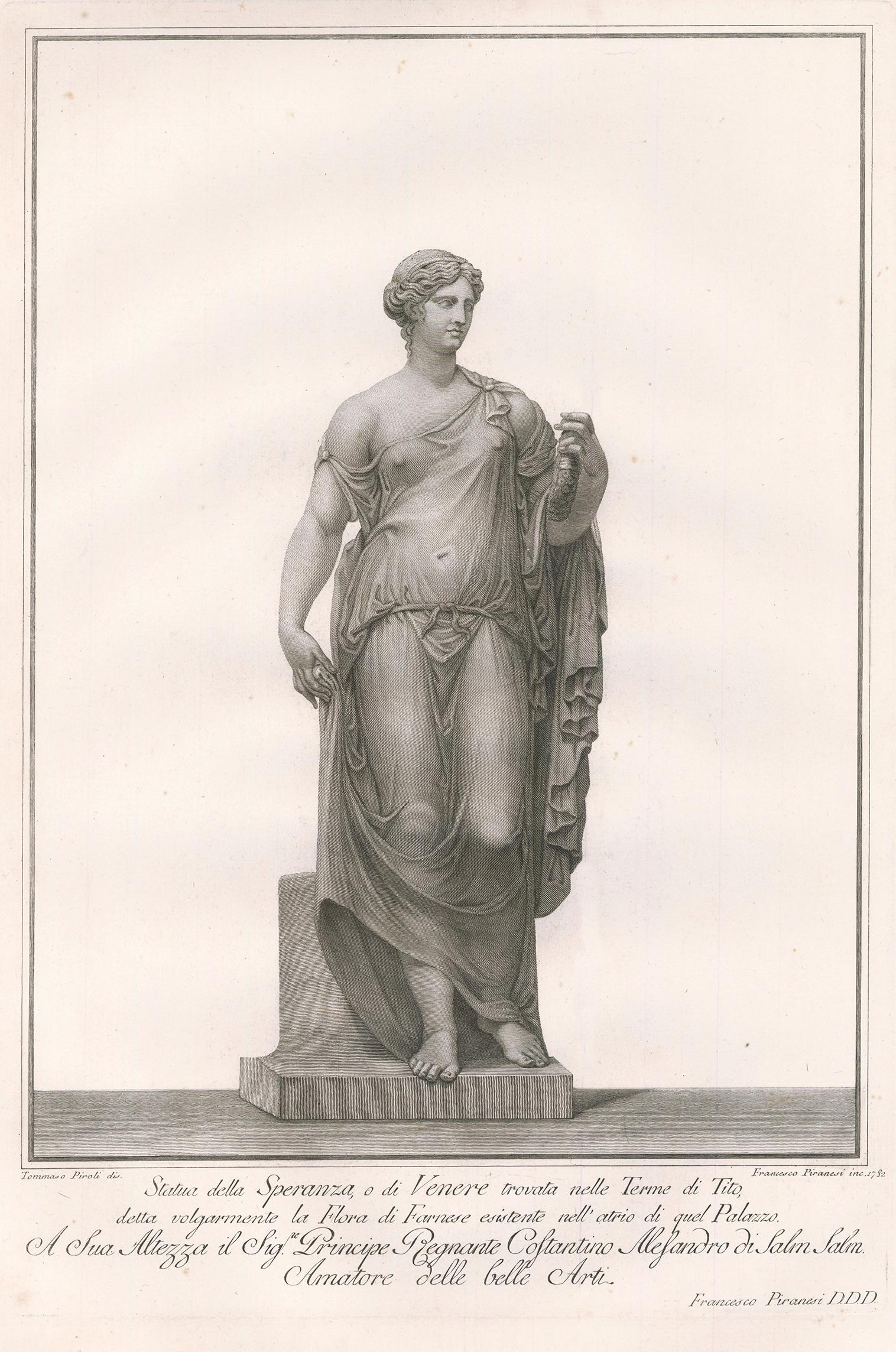 Engraving of a Female Sculpture