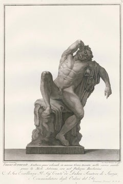 Engraving of a Sleeping Faun Sculpture