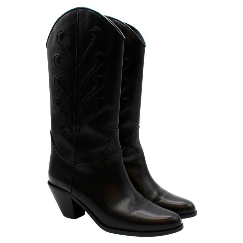 Francesco Russo Black Leather Western Inspired Boots - Size EU 36