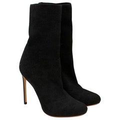Francesco Russo Black Pointelle-knit Cotton Sock Boots - Size EU 38