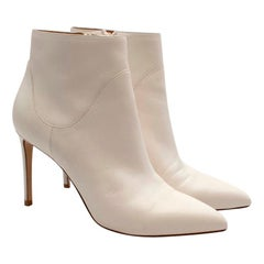 Francesco Russo White Leather Heeled Ankle Boots - Size EU 39