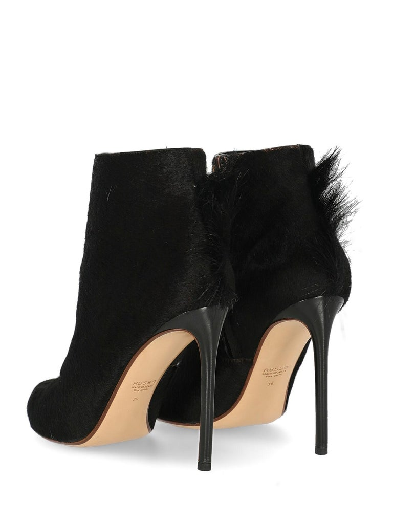 Francesco Russo Woman Ankle boots Black Leather IT 39 In Good Condition In Milan, IT