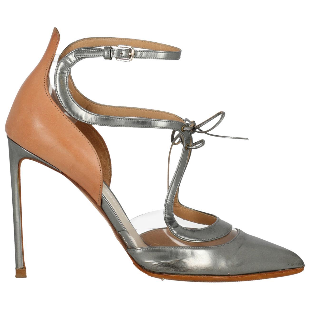 Francesco Russo Woman Pumps Camel Color, Silver EU 40