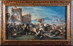 Dramatic Battle Scene Outside a Castle, a Town beyond  1730'