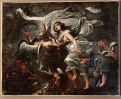 17th Century Italian Old Master Painting - Time unveiling truth - Allegory Dark