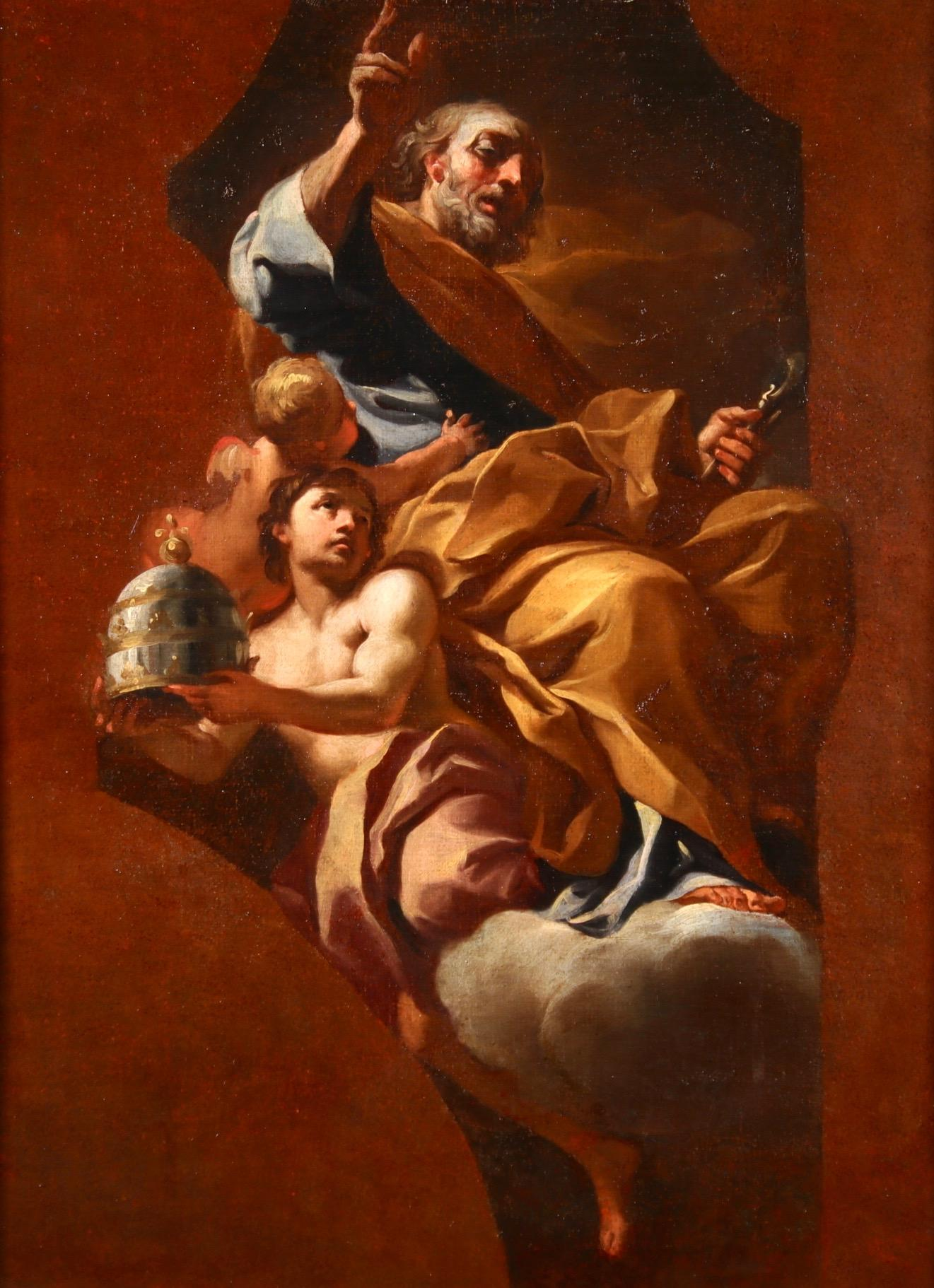 Saint Peter & The Angels - 17th Century Oil, Religious Figures by F Solimena