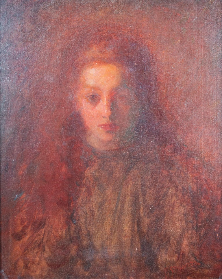 'Little Mary Spicuzza' signed oil painting of the artist's niece - Painting by Francesco Spicuzza