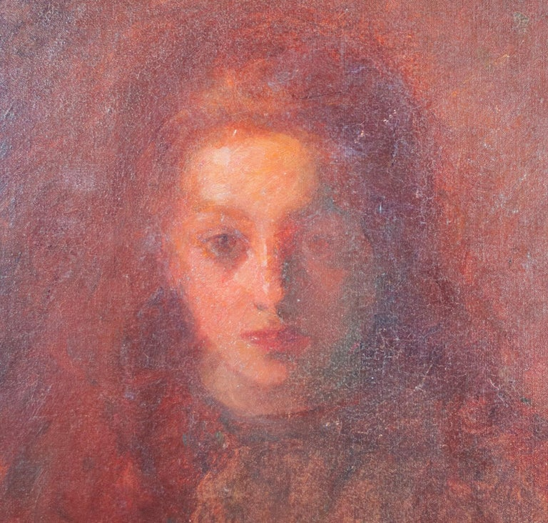 In this haunting yet adoring portrait, Francesco Spicuzza presents to the viewer his niece Mary. Her young face, probably from when about six years old, emerges from a hazy buildup of brushy glazes of paint. Subtle impasto highlights the features of