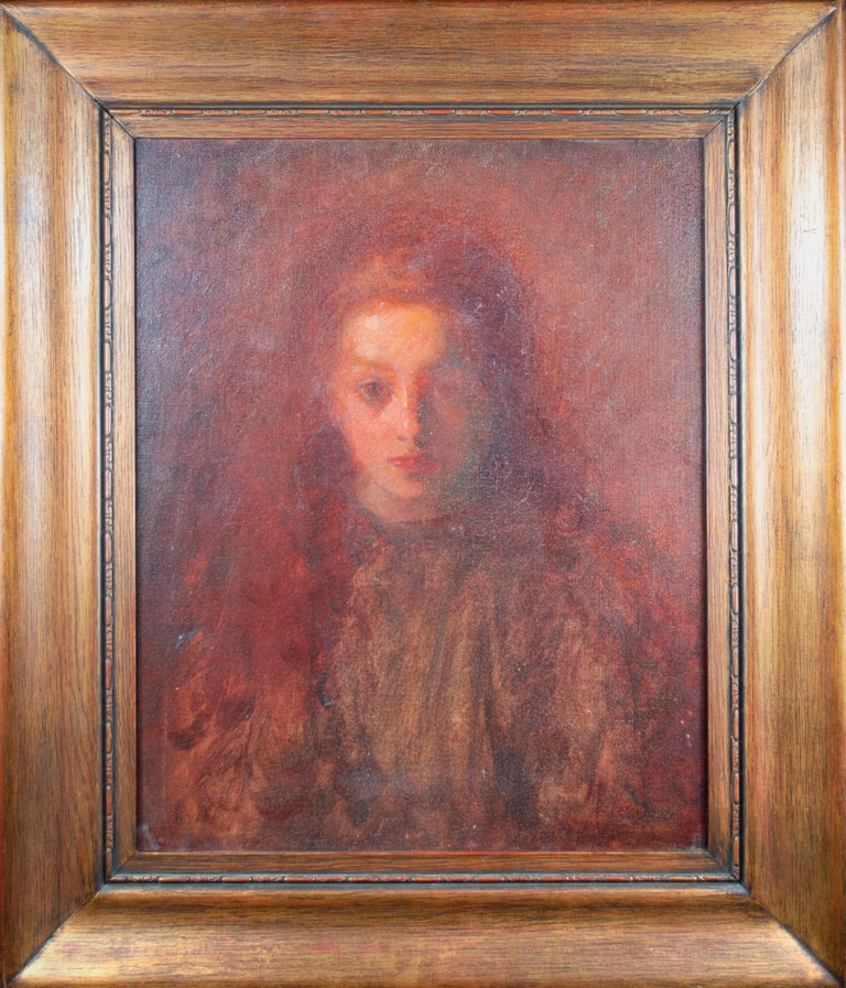 Francesco Spicuzza Portrait Painting - 'Little Mary Spicuzza' signed oil painting of the artist's niece