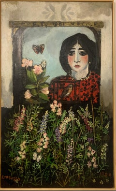 """""""Girl at the window"""" Oil cm. 90 x 150 ,1981"""