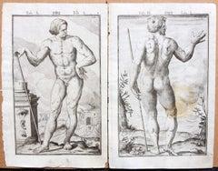 Pair 17th Century Medical Anatomy Engravings by Francesco Valesio