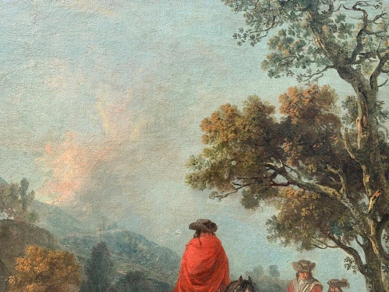 18th century Italian landscape painting - Knights - Oil canvas Zuccarelli Italy For Sale 5