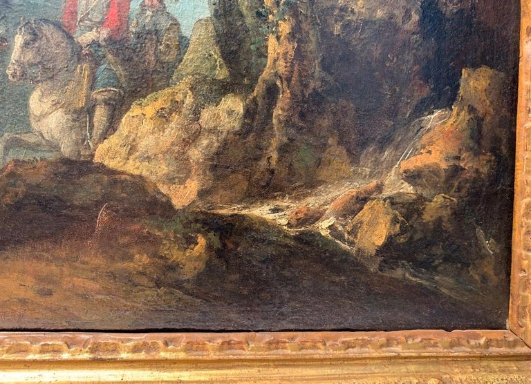 18th century Italian landscape painting - Knights - Oil canvas Zuccarelli Italy For Sale 7