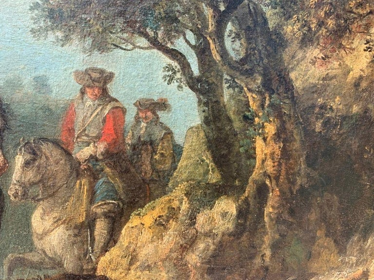 18th century Italian landscape painting - Knights - Oil canvas Zuccarelli Italy For Sale 8