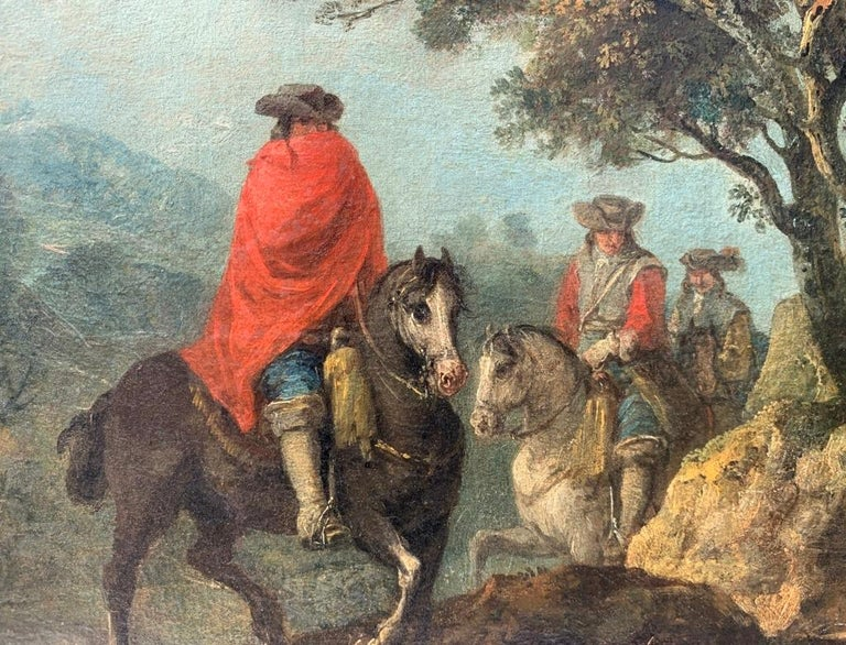 18th century Italian landscape painting - Knights - Oil canvas Zuccarelli Italy For Sale 9