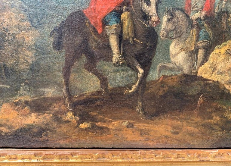 18th century Italian landscape painting - Knights - Oil canvas Zuccarelli Italy For Sale 10