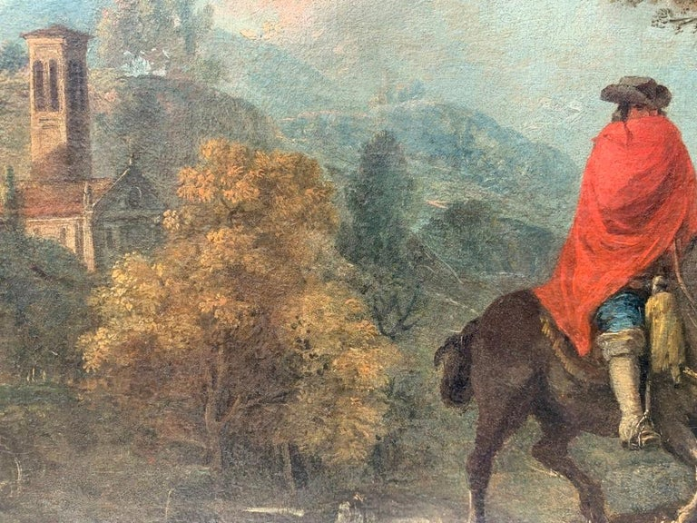 18th century Italian landscape painting - Knights - Oil canvas Zuccarelli Italy For Sale 11