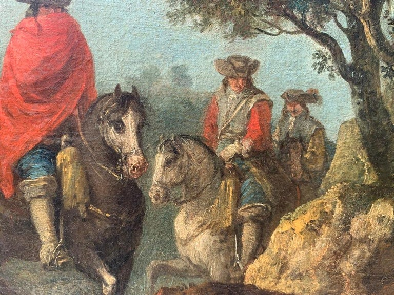 18th century Italian landscape painting - Knights - Oil canvas Zuccarelli Italy For Sale 13