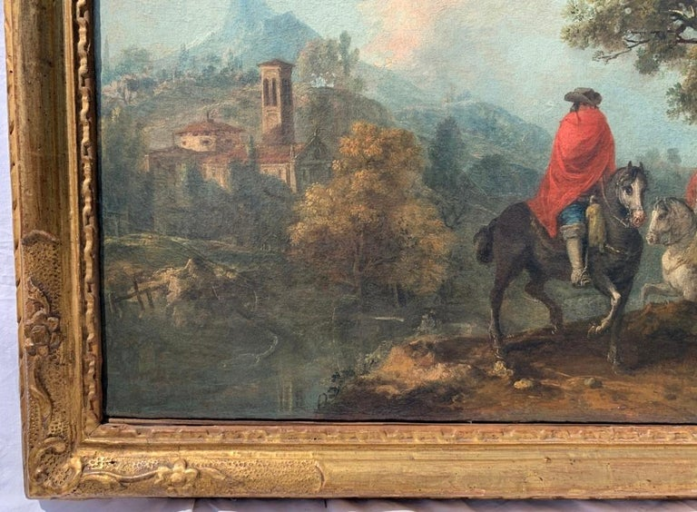 18th century Italian landscape painting - Knights - Oil canvas Zuccarelli Italy - Rococo Painting by Francesco Zuccarelli