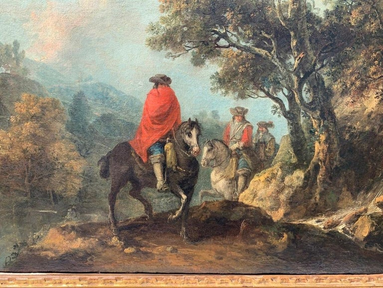 18th century Italian landscape painting - Knights - Oil canvas Zuccarelli Italy - Brown Figurative Painting by Francesco Zuccarelli