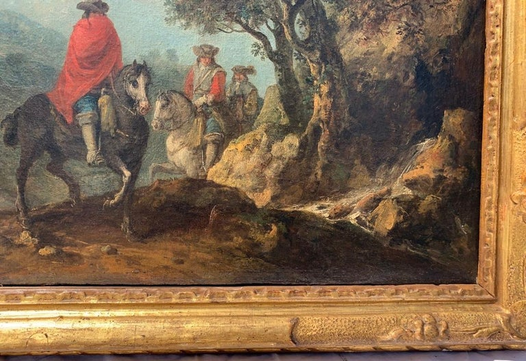 Francesco Zuccarelli (Pitigliano 1702 - Florence 1788) - River landscape with travelers on horseback and village in the background.  53 x 70 cm without frame, 64.5 x 80 cm with frame.  Oil on canvas, in a carved and gilded wooden frame.