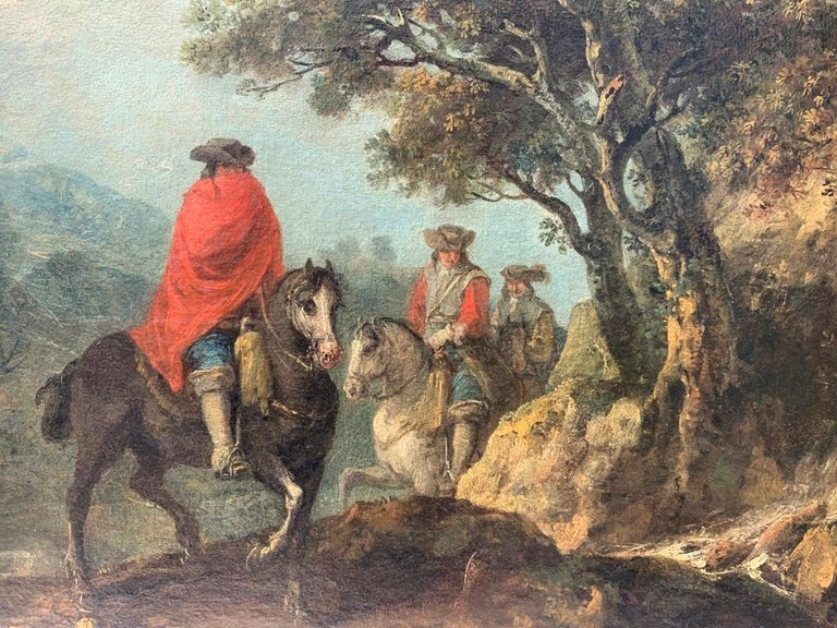 18th century Italian landscape painting - Knights - Oil canvas Zuccarelli Italy For Sale 1