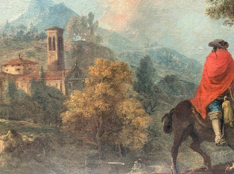 18th century Italian landscape painting - Knights - Oil canvas Zuccarelli Italy For Sale 2