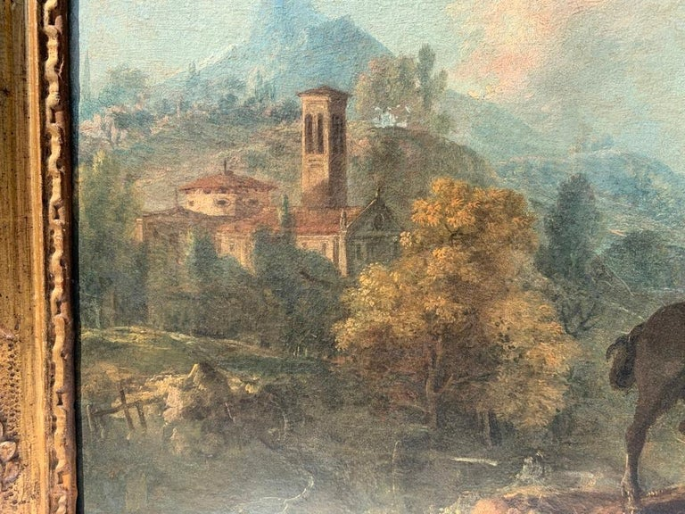 18th century Italian landscape painting - Knights - Oil canvas Zuccarelli Italy For Sale 3
