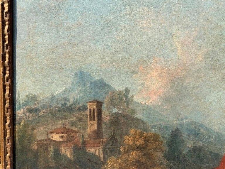 18th century Italian landscape painting - Knights - Oil canvas Zuccarelli Italy For Sale 4