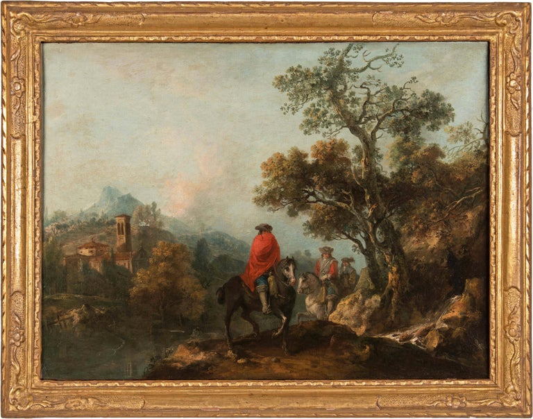 Francesco Zuccarelli Figurative Painting - 18th century Italian landscape painting - Knights - Oil canvas Zuccarelli Italy