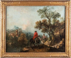 18th century Italian landscape painting - Knights - Oil canvas Zuccarelli Italy