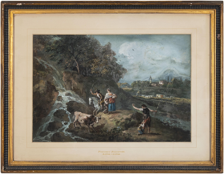 18th century Venetian figure painting - Landscape - Tempera paper Zuccarelli Ven