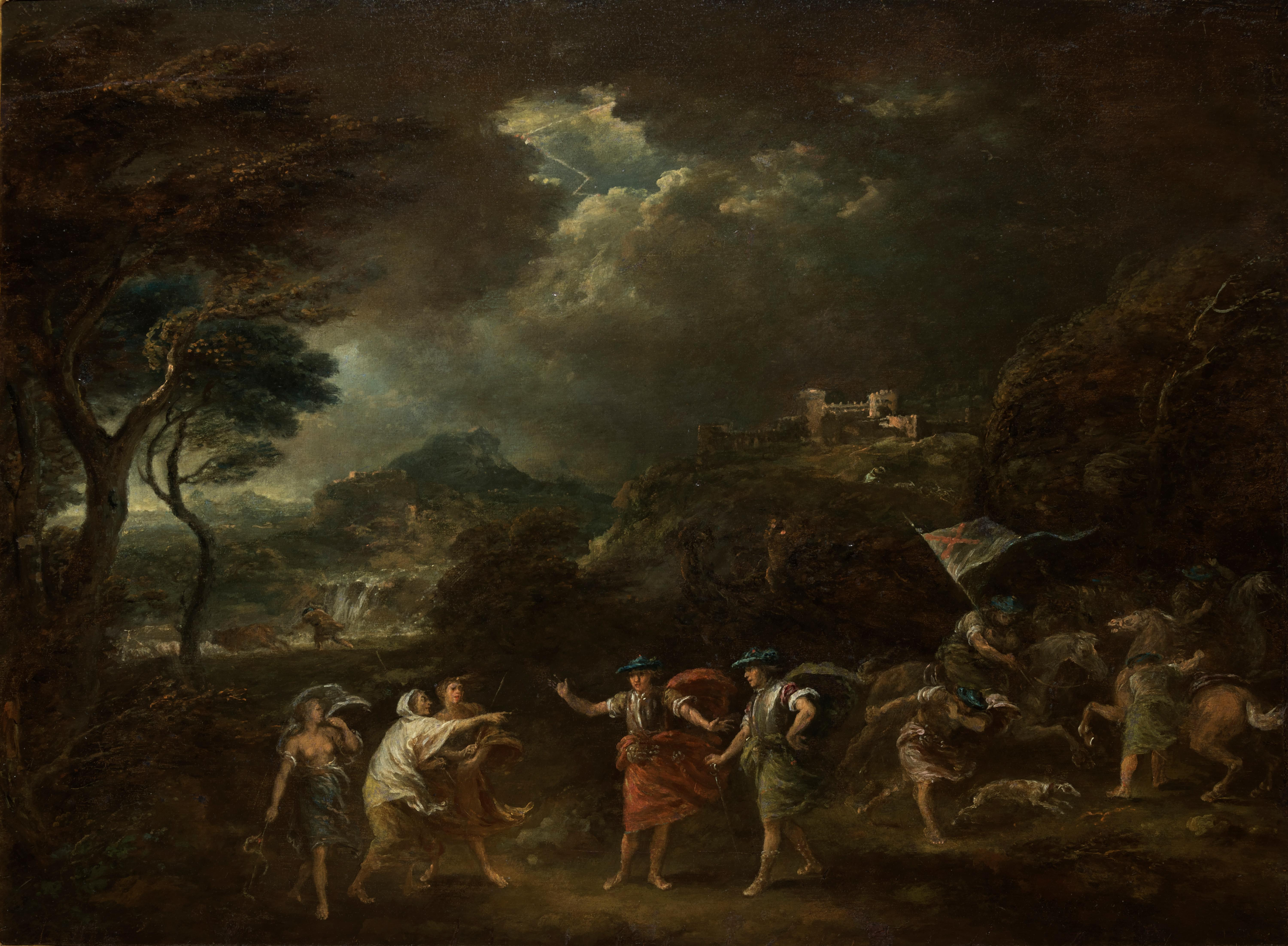 Macbeth and the Three Witches a Painting on Panel by Francesco Zuccarelli