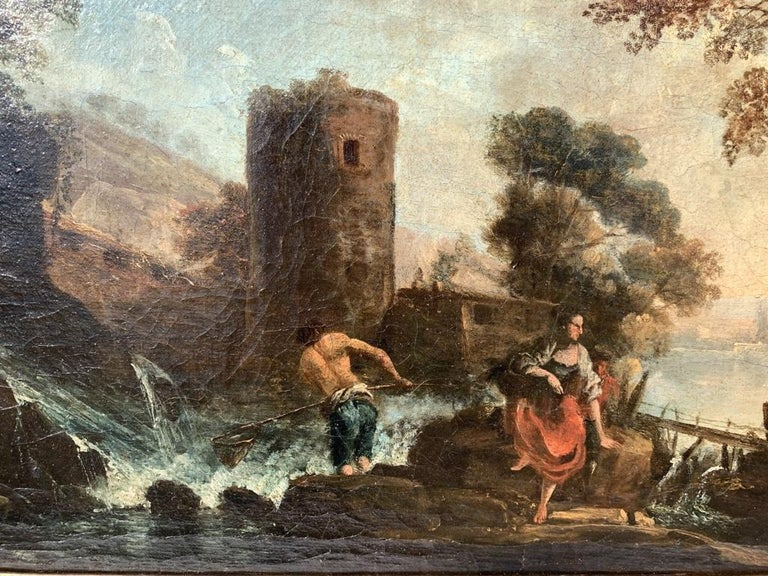 Pair of 18th century Venetian lanscape paintings - Zuccarelli - Oil on canvas For Sale 5